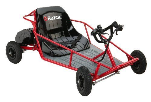 Compact kids dune buggy with powerful 350-watt electric motor Reaches speeds of up to 10 mph; 8-inch knobby pneumatic tires Durable tubular steel frame; padded bucket seat with seatbelt Hand throttle and brake controls; requires no fuel to run Supports up to 120 pounds driver weight; for ages 8 and older