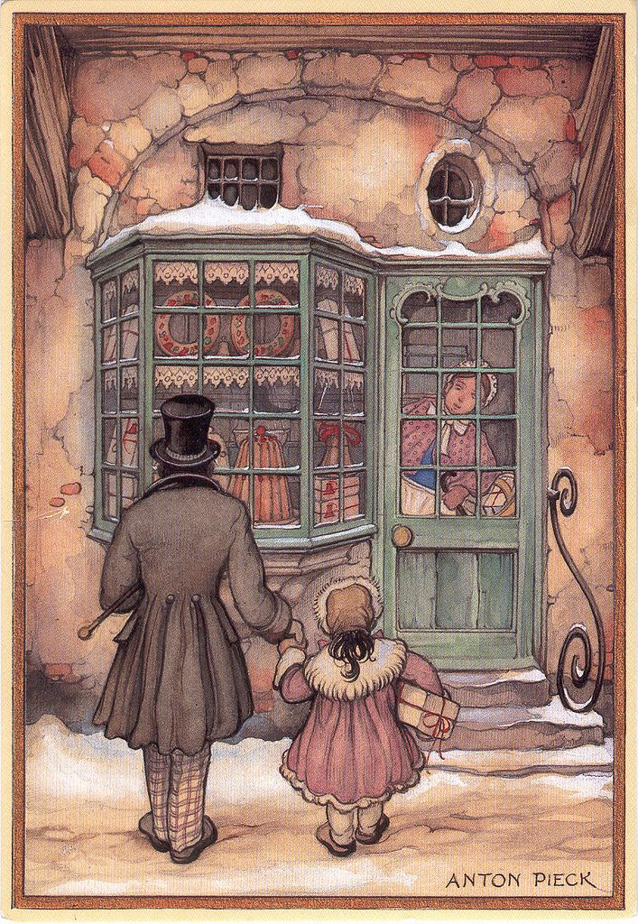 Vintage Father and Daughter looking into shop window by Anton Franciscus Pieck