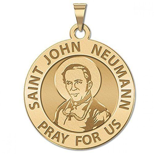 CHAIN IS NOT INCLUDED Available in Solid 14K Yellow or White Gold or in Sterling Silver Size Reference: 17mm is the size of a US dime 21mm is the size of a US nickel 24mm is the size of a US quarter Saint John Nepomucene Neumann (German: Johannes Nepomuk Neumann; Czech: Jan Nepomuck Neumann; March 28 1811 January 5 1860) was a Redemptorist missionary to the United States who became the fourth Bishop of Philadelphia (1852-60) and the first American bishop to be canonized. While Bishop of…
