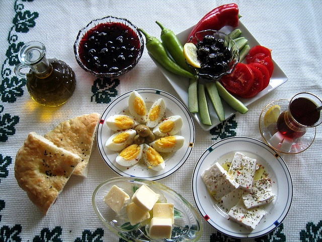 Classic Turkish Breakfast: Tomatoes, Cucumbers, Olives, Eggs, Cheese, Bread and some sweet Turkish tea.