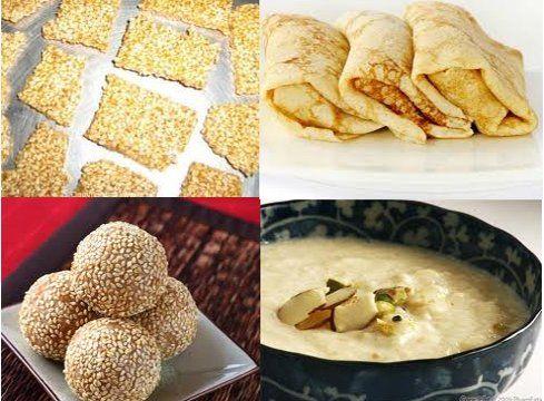 special sweets of Makar Sankranti use til (sesame) and gur (jaggery) be it til ke laddoo of North India; Tilgul of Maharashtra; Yellu-Bella of Karnataka; Tilkut, Tilwa of Bihar; til chikkis of Gujarat; makar chaula of Orissa; revri of Punjab; til-patti of Rajasthan; gajak of Uttar Pradesh; or tiler nadu of Bengal. One more similarity in food is the 'Khichdi,' the delicious preparation made of rice and pulses.