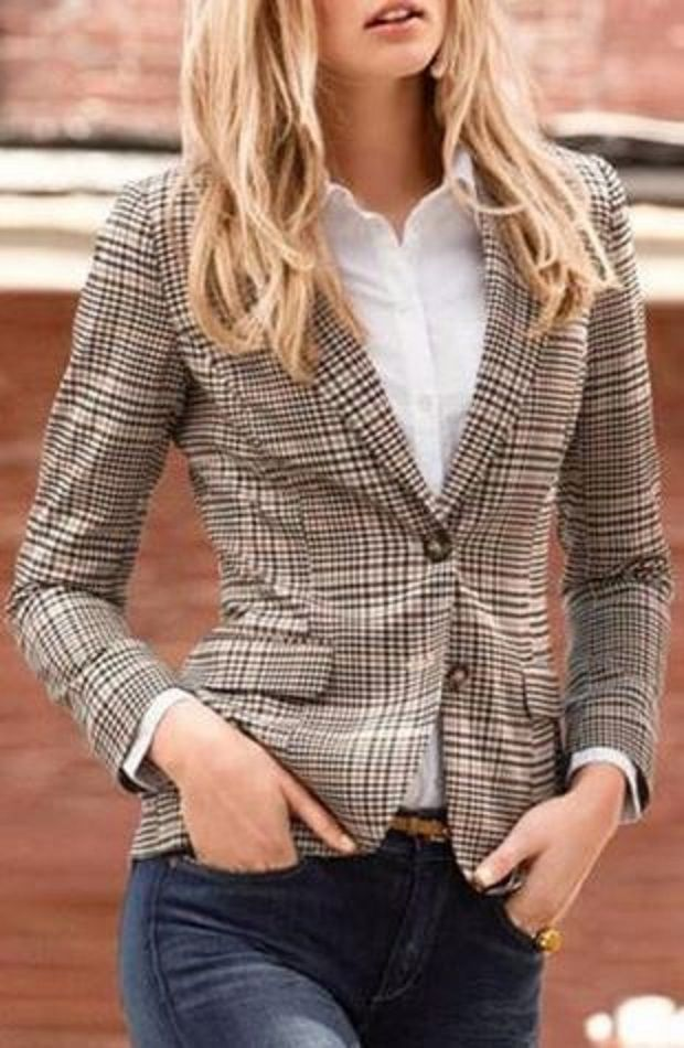 Plaid Love! Vintage Style Turn-Down Collar Long Sleeve Gingham Patch Designs Women's Jacket #Vintage #Style #Jacket #Fall #Fashion #Basics