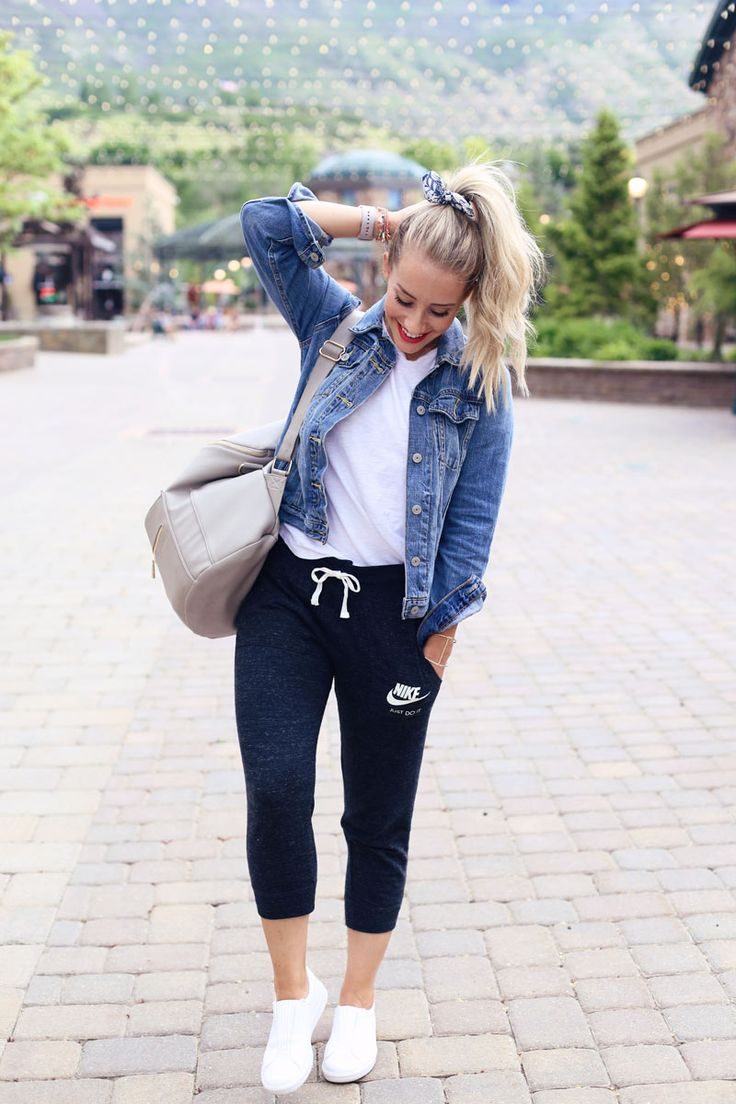 How to Style Joggers and Workout Pants to wear everyday. Nike Joggers plus Jean Jackets.