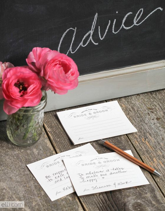 Advice for the bride and groom cards free printable template.