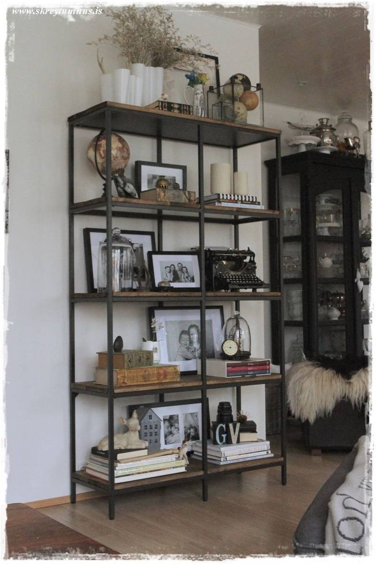 Industrial rustic farmhouse ikea hack house things pinterest industrial industrial - Living room multi use shelf idea ...
