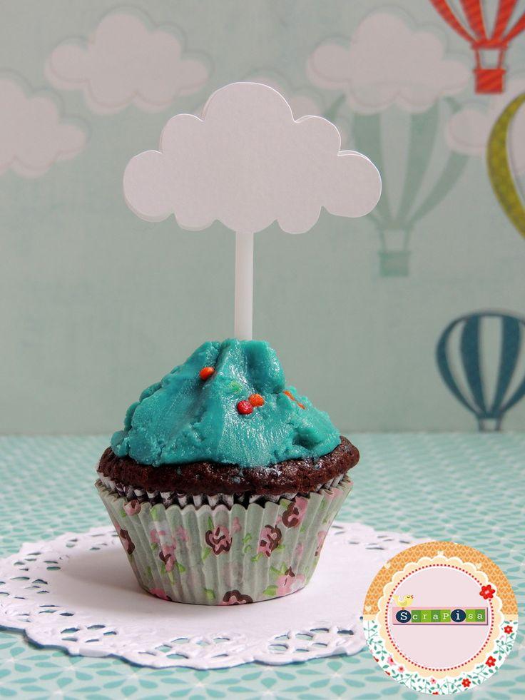 Topper Para Cupcake - Nuvem | Scrapisa | Elo7