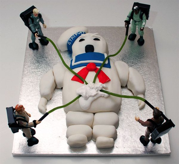 """""""Go get her, Ray!"""" Ghostbusters cake.Geek, Fun Recipe, Parties, Food, Ghosts, Ghostbusters Cake, Awesome Cake, Marshmallows, Birthday Cake"""