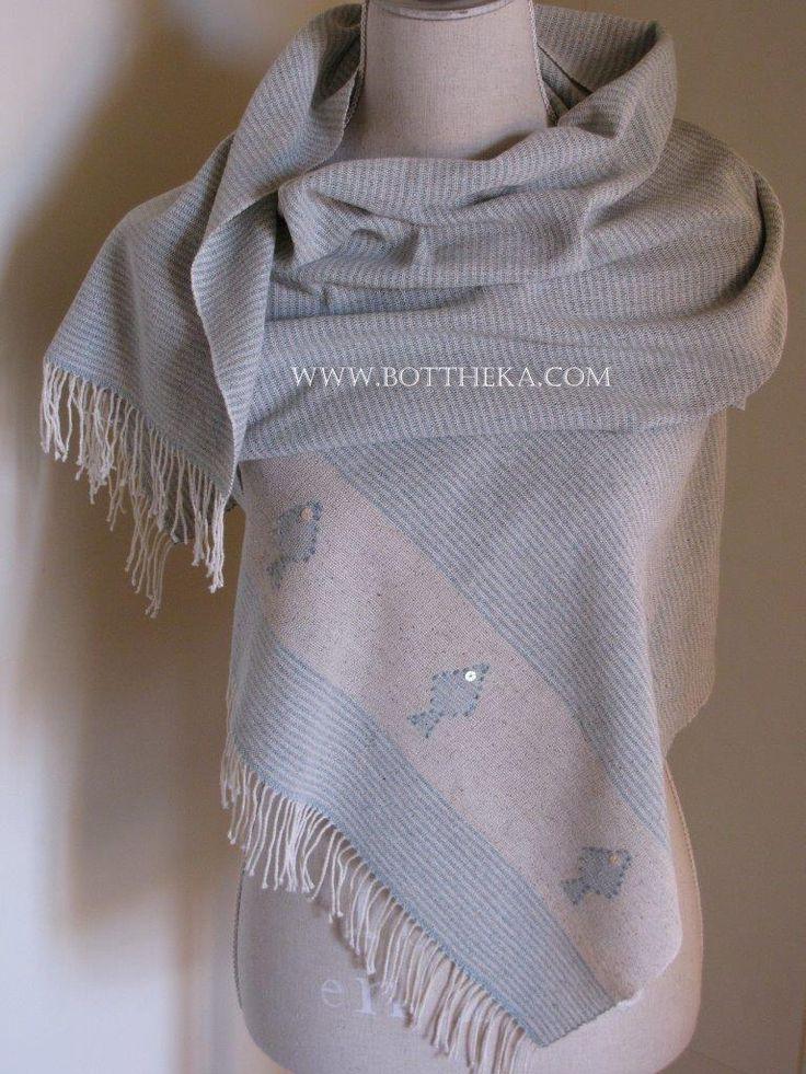Fish & Stripe stole - silk, cotton, ito yarn, weaving http://bottheka.com/en/fish-stripe-stole
