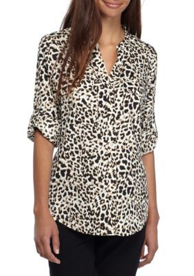 Calvin Klein Women's Printed Roll Sleeve Blouse - Leopard - Xl