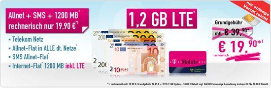 Telekom Allnet Flat 1,2 GB mit günstigem Vertrag T-Mobile Special Allnet Promotion für -240.00 € bestellen