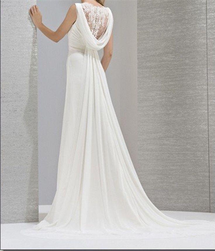 Neige dentelle mousseline de soie blanche robe de soirée de mariage longue 34-46