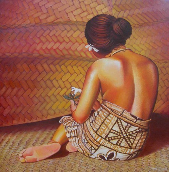 "Artwork by Troy Carney, ""Fa'angase"" (Oil on Canvas)."