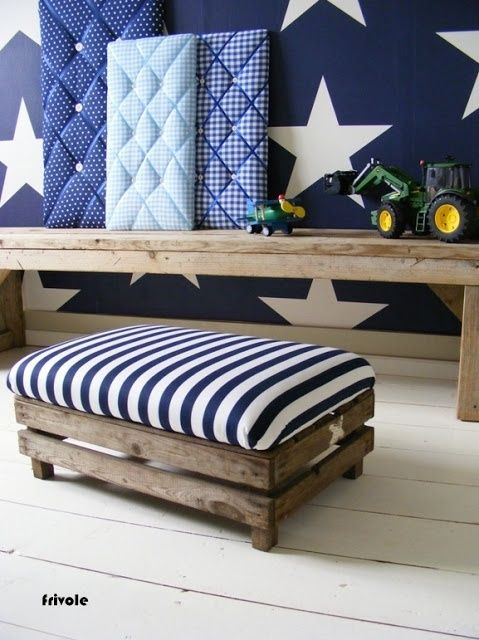 I really like the stars on the wall and this bench. this would be great in a mud room or entry, I think.  mommo design: CRATES LOVE