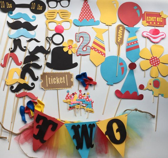 CIRCUS photo booth props and party pack with balloons and banner