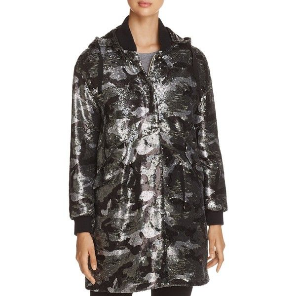 Herno Sequin Camo Coat (5.845 BRL) ❤ liked on Polyvore featuring outerwear, coats, black, camouflage coat, metallic coat, camo coat, sequin coat and herno