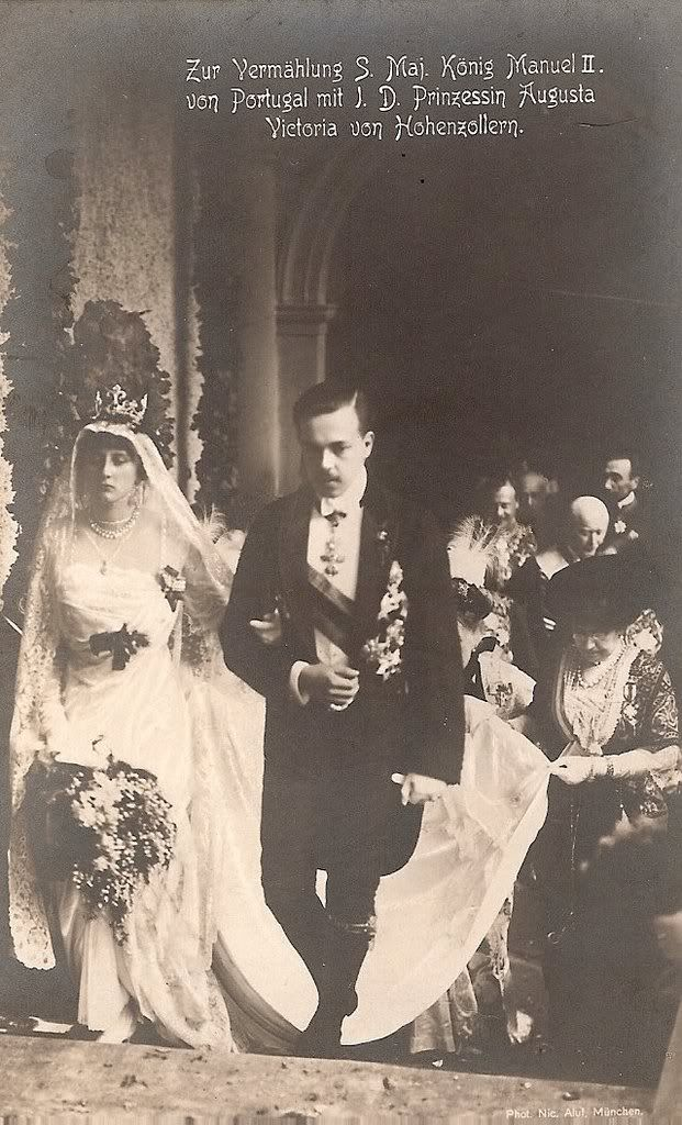 King Manuel II of Portugal & Princess Auguste Viktoria of Hohenzollern - 1913 Wedding of King Manuel II of Portugal and Princess Augusta Vitória Hohenzollern-Sigmaringen, on September 4th 1913. Photos can be found here: Casamento de S.M. El-Rei D. Manuel II