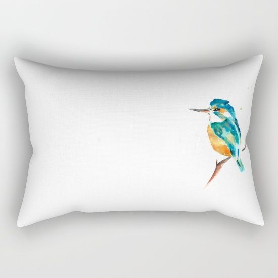 Kingfisher metallic Rectangular Pillow by Art By Chrissy Taylor - $27.00