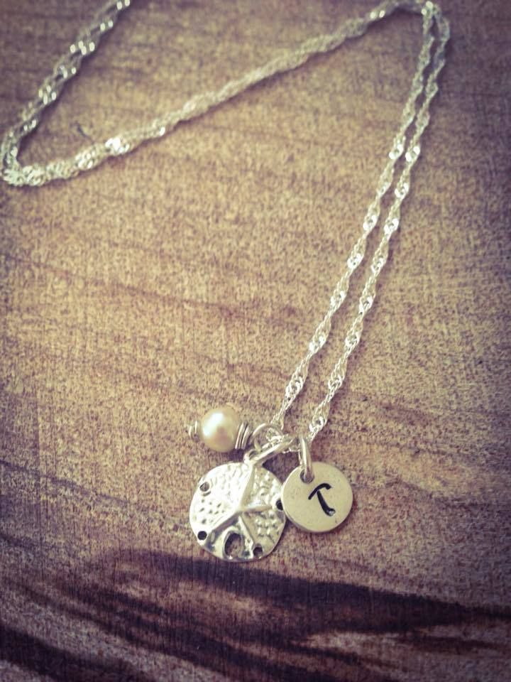 Sand Dollar, Stamped Initial tiny tag, small pearl necklace