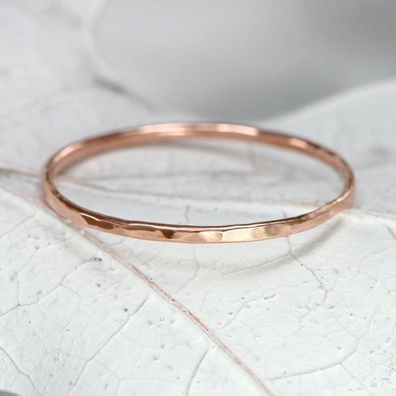 14k Rose Gold Band Hammered Rose Gold Stacking by ScarlettJewelry, $74.00