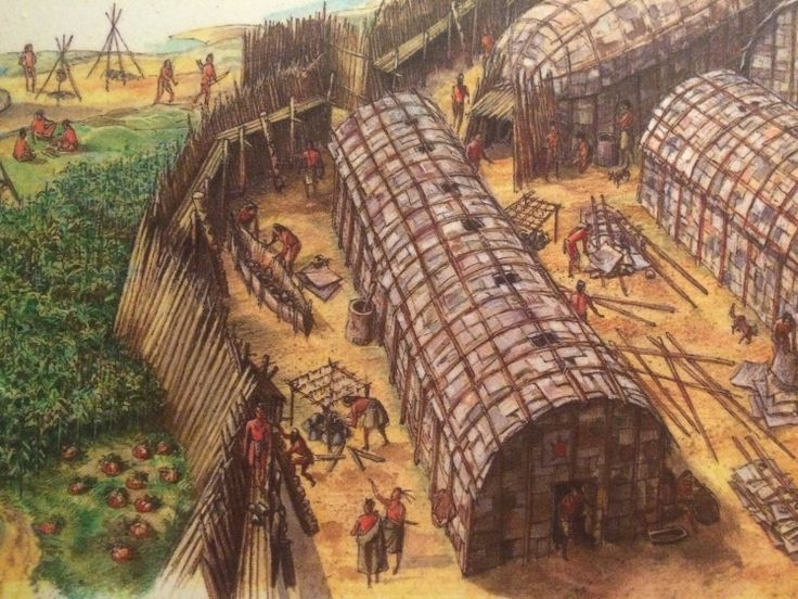 Artists rendering of a typical Huron-Wendat historic ...