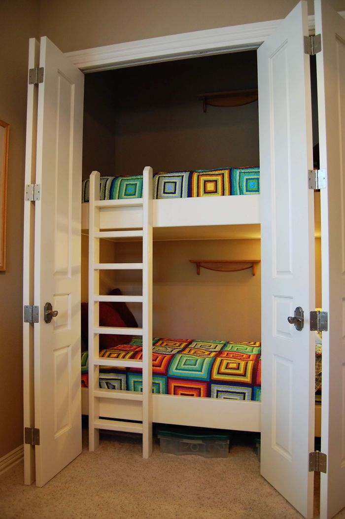 Bunk Beds Built Inside A Closet In 2020 Bed In Closet Toddler