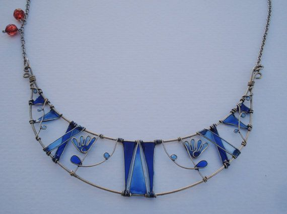 Blue Summer Necklace Greek Summer Jewelry by LePetitMagique, €40.00