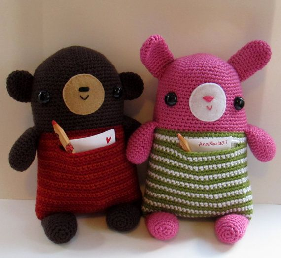NEW Bunny and Teddy Pocket Friends amigurumi crochet pattern by Ana Paula Rimoli