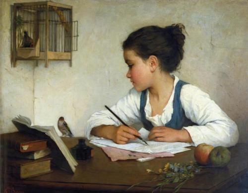 1860-80 Henriette Browne [Sophie de Bouteiller]~A Girl Writing;Girls Writing, Museums, Girls Generation, The Artists, Children, Henriette Brown, Painting, Birds, Young Girls