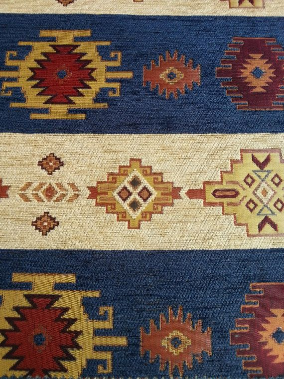 FedEx!!!by the Meter,Yard,Chenille,Jacquard,Ethnic,Tribal ,Turkish,Ottoman Style Chenille UpholsteryFabric,Kilim Fabric, DARK BLUE,NAVY