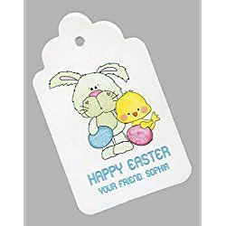Easter Gift Tags, Bunny with Eggs and Chick, Personalized Set of 25