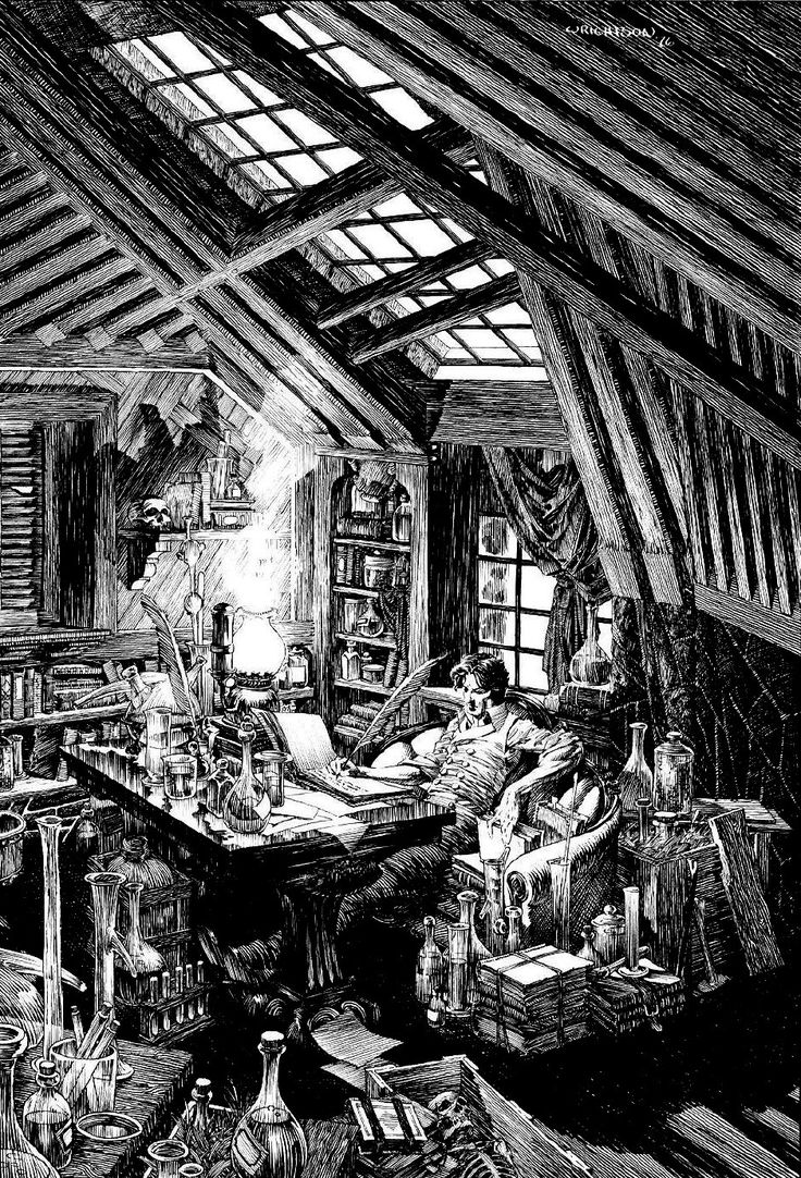 "Bernie Wrightson Illustration of Mary Shelley's ""Frankenstein"""