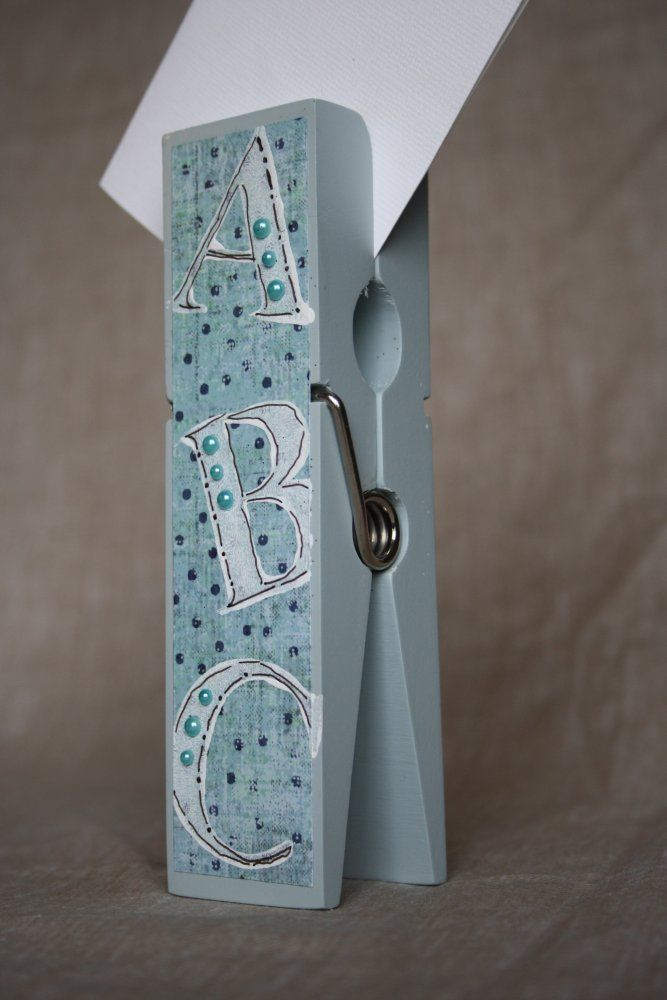 Baby Boy ABC Extra Large Clothespin Photo/Note Holder