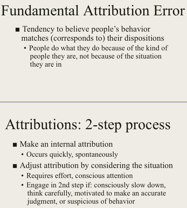 Fundamental attribution error (social psych)