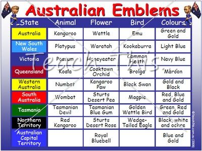 Australian Emblems Colour - Printable Picture Theme Flash Cards / Classroom Displays, Teacher Resources :: Teacher Resources and Classroom Games :: Teach This