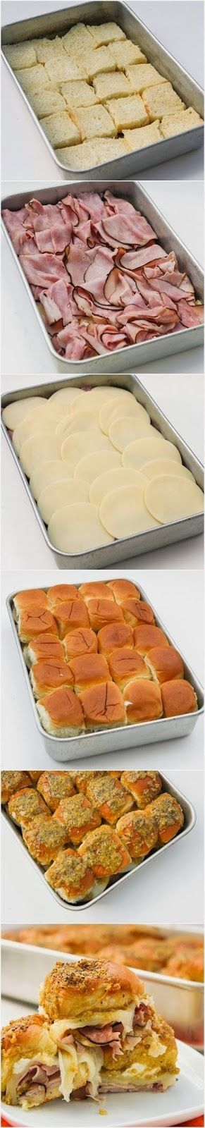 How To ham and cheese sandwiches - great for superbowl party