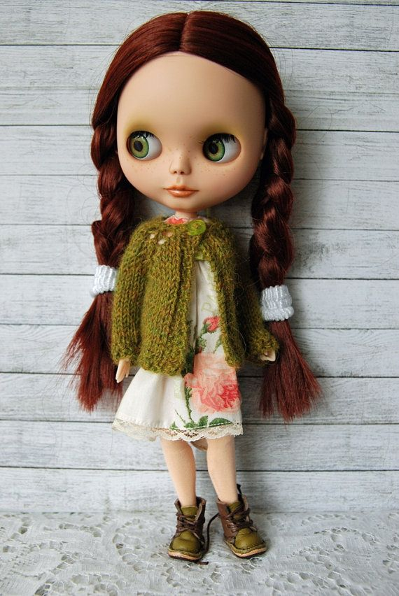 RESERVED FOR JUDY - Blythe Doll Knitted Alpaca Cardigan - Heathered Moss Green
