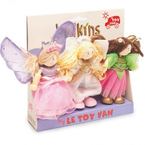 Budkins Fairy Triple Set   With fairy wings this sweet set of 3 poseable characters includes Fleur the Butterfly Fairy, Sky Angel Fairy and Summer Fairy all in hand-finished fabric outfits.
