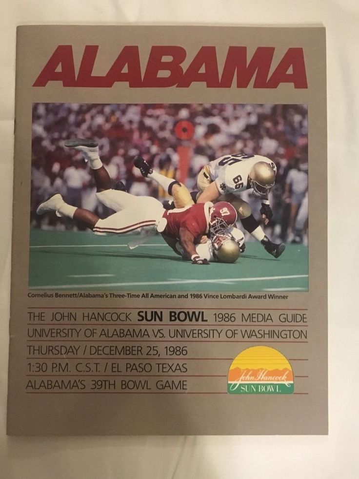 1986 John Hancock Sun Bowl Game Alabama Football Media Guide  | eBay