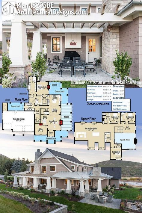 Architectural Designs Luxurious Craftsman House Plan 18295BE gives you over 4,800 square feet of heated living space plus a wrap around covered porch, side pergola, and rear wrap around porch provides plenty of outdoor living space. Ready when you are. Where do YOU want to build? ***