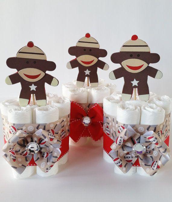 Sock Monkey Mini Diaper Cakes Sock Monkey by LilLoveBugsCreations