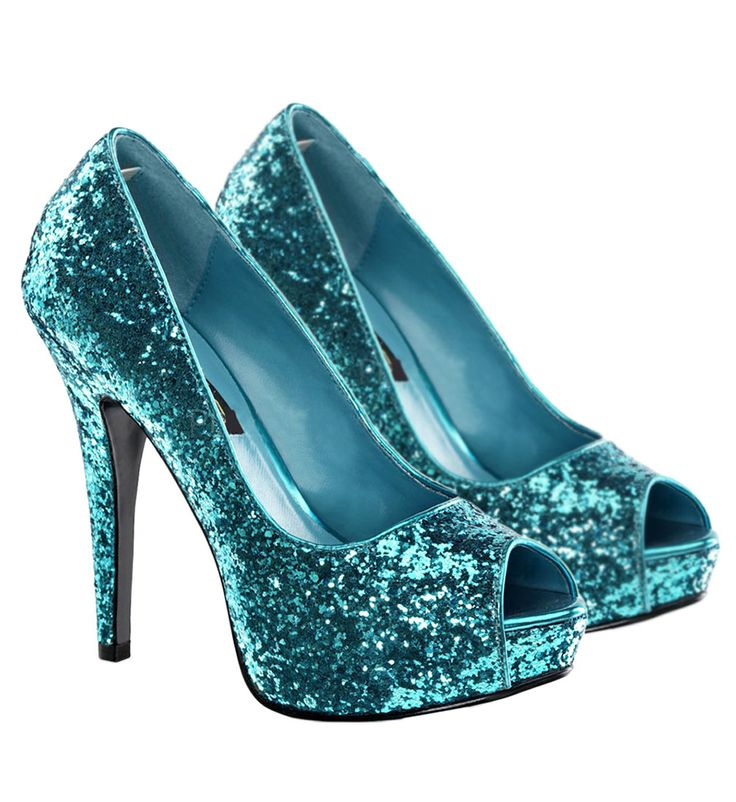 Turquoise | Womens Turquoise Glitter Twinkle Shoes - Costume Accessories - Shoes