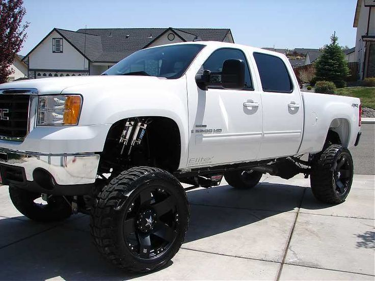 jacked up white chevy trucks - photo #6