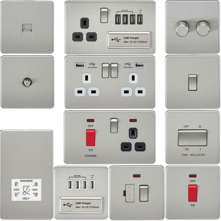 Screwless Flat Plate Electrical Light Switches & Plug Sockets Brushed Chrome