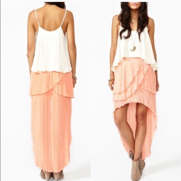 """Keepsake hi-low skirt Floaty peach chiffon skirt featuring a high waist and pleated tiers. Plunging tail hem, hook/eye and zip closure at the side. Partially lined.  100% polyester  16"""" length at front, 41"""" length at back  Runs true to size  Brand new with tags  Price firm/NO trades Nasty Gal Skirts High Low"""
