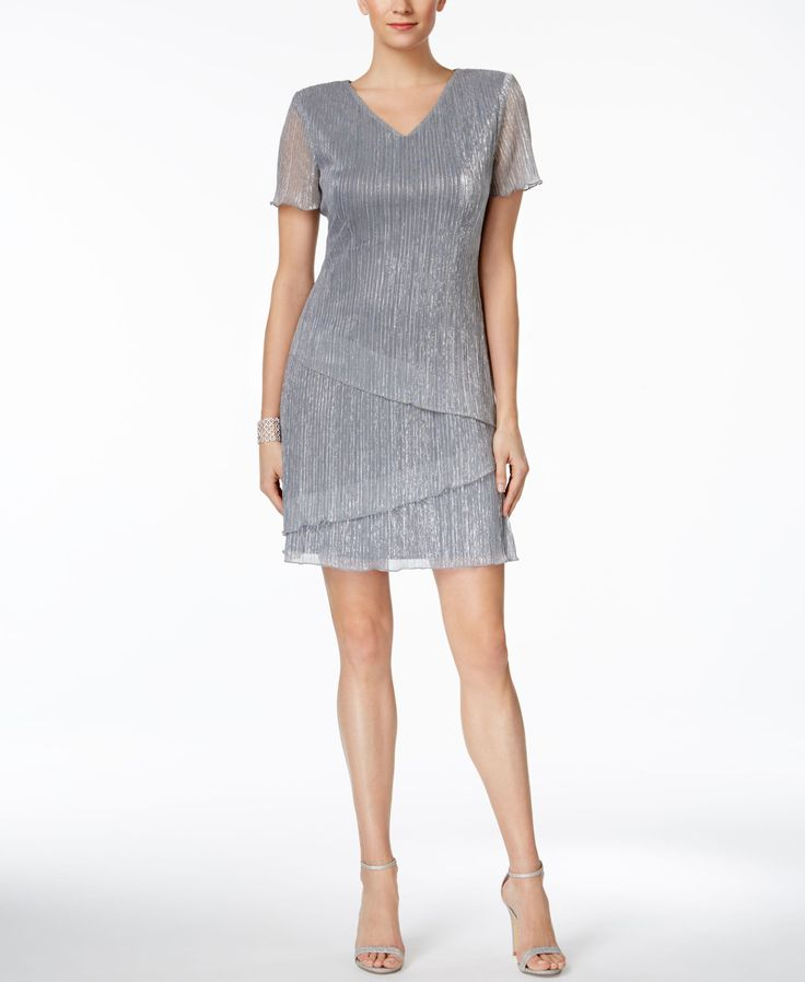 Connected Tiered Metallic Cocktail Dress