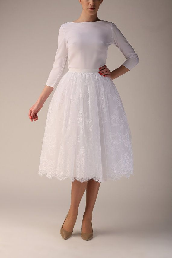 Wedding lace skirt, lace and tulle skirt, Handmade long skirt,Handmade tutu skirt,High quality skirt,Tea length petticoat,Tea length skirt