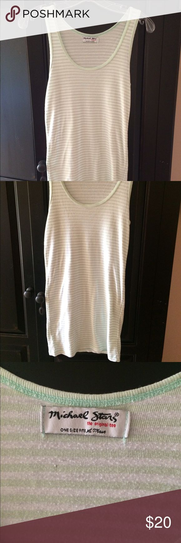 """Michael Stars long Tank top Michael Stars mint green and white striped tank. Great condition, long enough to layer or wear by itself. Michael stars is """"one size fits most"""" but I am anywhere between a L- M and it fits me great. Soft fabric, and just a very versatile piece. Michael Stars Tops Tank Tops"""