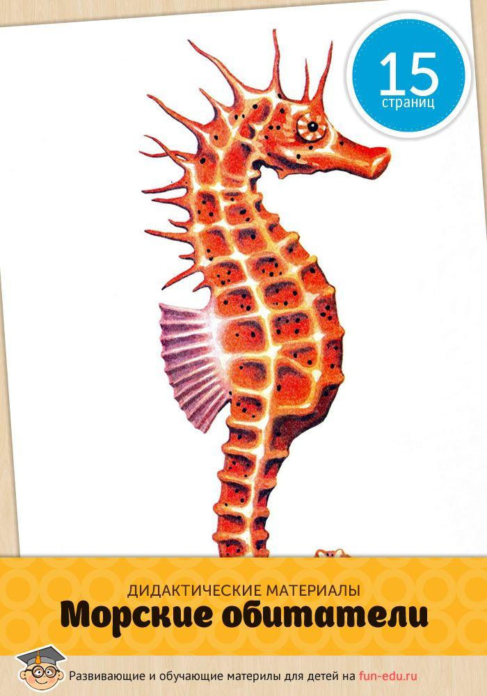 В этом пособии морские жители представлены на больших, удобных карточках. Используйте, распечатанные на цветном принтере картинки, для запоминания.