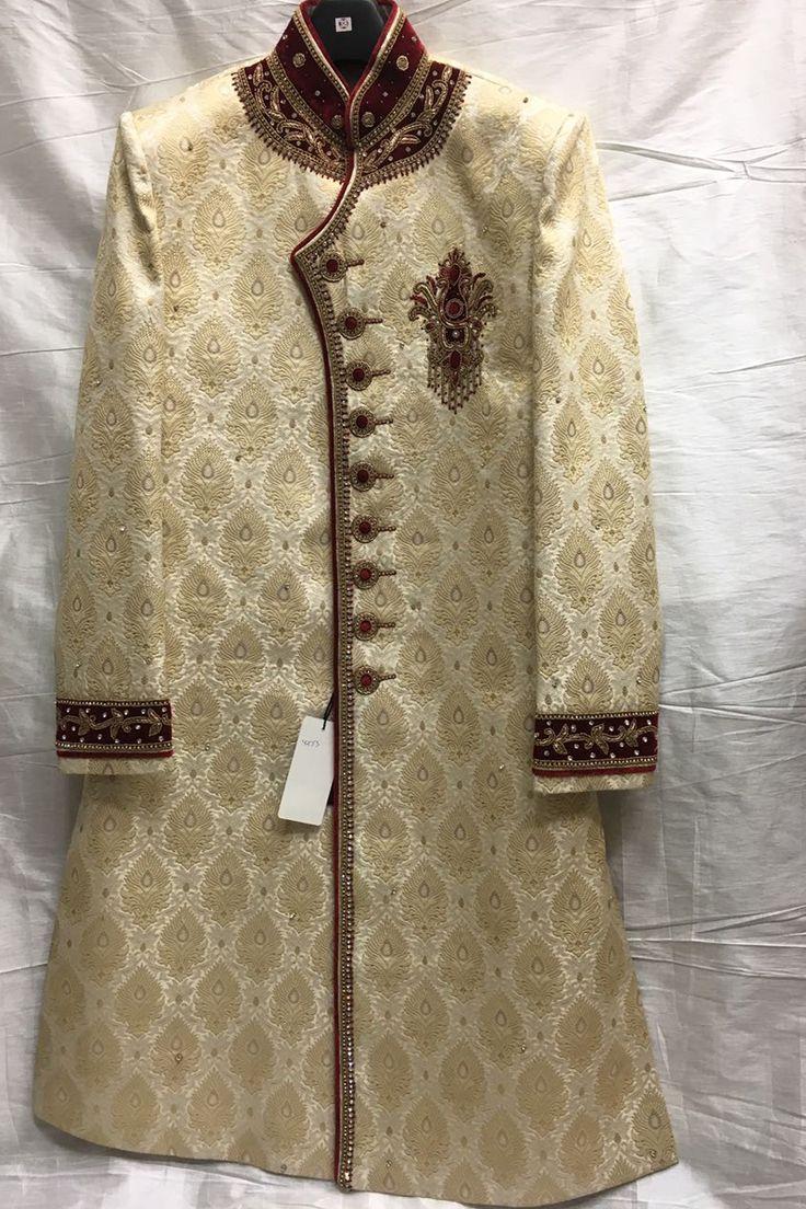 Designer Wedding Wear Cream Sherwani 4270
