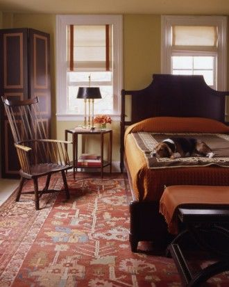 """Sunset colours, burnt orange and warm yellow make this room warm and enveloping, best for bedrooms. See the """"Sunset Palette"""" in our Orange Rooms gallery Martha Stewart."""